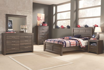 Juararo - Dark Brown - 5 Pc. - Dresser, Mirror & Full Panel Bed