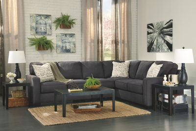 Alenya - Charcoal - LAF Loveseat, Armless Chair, RAF Sofa Sectional & Birstrom Table Set