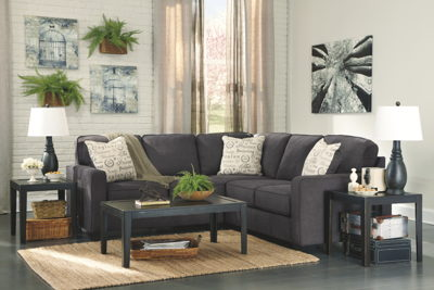 Alenya - Charcoal - LAF Loveseat, RAF Sofa Sectional & Birstrom Table Set